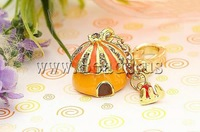 Free shipping!!!Key Chain,Fashion Jewelry Graceful, Zinc Alloy, House, gold color plated, enamel & with rhinestone, nickel