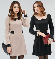 XL~4XL!! New Autumn Ladies Fashion Brief Plus Size Clothing Pearl Button Turn-down Collar Long-sleeve Slim Dresses
