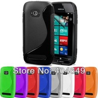 100pcs/lot&Free shipping S line wave S shape TPU Gel soft case for Nokia lumia 710