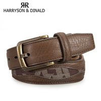 Male decorative pattern strap genuine leather casual vintage fashion pin buckle wide belt male 1523