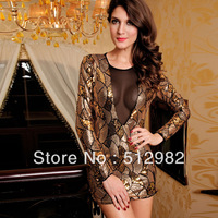 Deep v neck Sequins Women's long sleeve golden gorgeous sexy evening dresses lady shining mini backless party dress