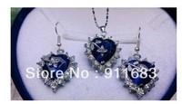 Beautiful handmade jewelry heart-shaped sapphire necklace pendant earrings