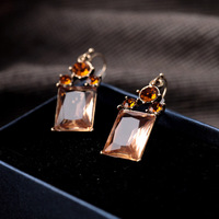 Min.order $10 (mix order) Fashion  jewelry vintage crystal glass square earrings earring
