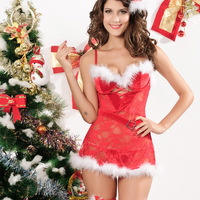 Fashion christmas clothing spaghetti strap low-cut sexy uniforms 7195