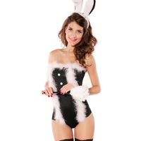 Halloween faux bodysuit sexy rabbits loaded uniform performance costumes