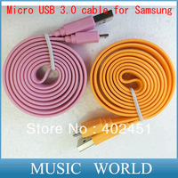 DHL/EMS Free shipping 1M micro usb 3.0 Noodle Flat Data  USB data cable Charging Cable for Samsung Galaxy Note3 N9000 N9005
