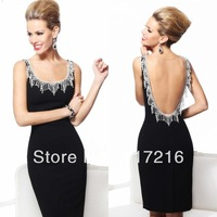 2014 top quality unique best selling beaded knee length black chiffon sexy backless pretty evening gown corset formal dress