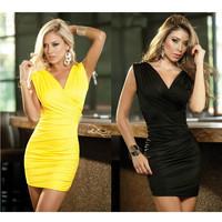 Freeshipping 2013 New Fashion Women Sexy Black/Yellow Elegant Slim Bodycon Dress Sexy Club Dress Party Mini Dress