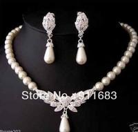 charming Bridal white akoya pearl necklace earrings set