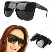 Women Men Unisex Vintage Inspired Large Frame Flat Top Square Sunglasses Black Leopard