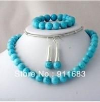 10mm Turquoise necklace earring bracelet set