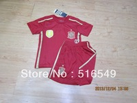 top quality soccer uniforms 2014 world cup spain home red soccer jerseys for youth child kids football jerseys&short