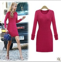 2013 winter sweaters for women  fashion slim waist  o-neck long-sleeve sweater dress one-piece dress vintage twisted pullovers