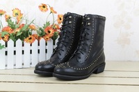2014new fashion luxury rivets brand sexy black ankle boots for woman Genunine leather motorcycle shoes original box freeshipping