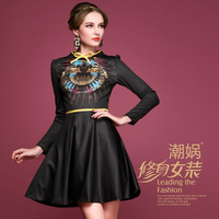 2013 h122 bow color block hemming fashion print women's slim one-piece dress