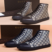 The new high-top shoes men casual top quality genuine leather high-top / round printing blue coffee Skateboarding Shoes G