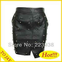 Free Shipping 2014 Women New Arrival Fashion Brand PU Rivet Elastic Package hip Ball Gown Short Skirt For Women GD0113