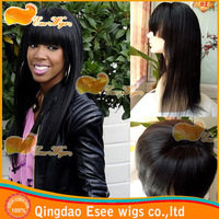 "Free shipping 100% human hair brazilian lace front wigs straight with bangs 1B# color 130% density 10""-24""inch"