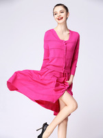 2013 spring new arrival elastic knitted twinset one-piece dress silk cardigan rose