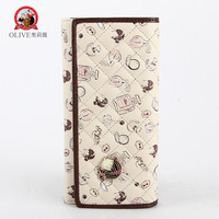 fashion o.l beige fold long wallet new arrival elegant princess long design female cartoon cute wallet