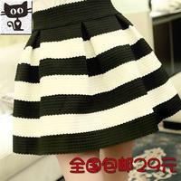2013 high waist stripe slim all-match bust skirt high waist small pompon short skirt