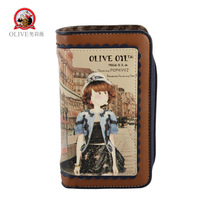 new arrival fashion single zipper with long design female walle twomen's cartoon wallet