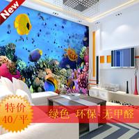 art wall stickers Mural Wallpaper 3d three-dimensional marine wallpaper deep sea fish sofa background wallpaper modern