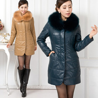 2013 autumn and winter women outerwear fur collar slim medium-long sheepskin down cotton-padded jacket plus cotton thickening
