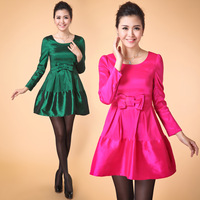 Autumn one-piece dress slim neon color plus size autumn and winter 2013 basic long-sleeve dress  Free shipping