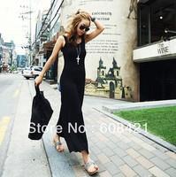 2014 fashion style Sleeveless Bohemia Dress,Backless mix cotton Maxi Dress 5 color  free size for all seasons Free Shipping