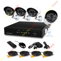 4CH H.264 CCTV DVR 4 Outdoor 700TVL IR Cut Security Surveillance Camera System