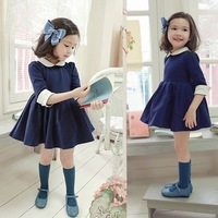 2013 autumn and winter female child princess elegant half sleeve one-piece dress peter pan collar puff skirt sweet thick plus