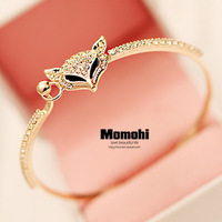 Fashion crystal fox bracelet female hand ring hand ring rose gold vintage bracelets bracelet jewelry