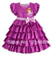Retail 2014 Princess Sophia Waist Bow Dress Girls Toddler 3D Tutu Layered Princess Party Bubble Sleeve Kids Formal Dress-1pcs