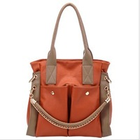New stylish 2013 fashion women's brand design handbag pu leather shoulder bag retro chain bag 4 colors Free shipping