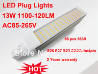13W E27 E26 G23 G24 B22 base led horizontal plug corn light 180 led energy saving lamp 5630 chip 13W 65 PCS beads LED bulb