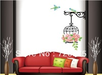 Removable Romantic Bird Cage Rose Flower Wall Decals Stickers