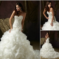 2014 Elegant Sweetheart Beaded Organza Chapel Mermaid Wedding Dress 2014 Wedding Gown Custom-made Vestido de noiva Dresses