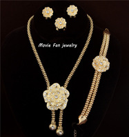 Daren Design fashion Dubai Jewelry 18K Gold Plated flower Necklace Set, Wedding/ Bridal Jewelry set african set DRSA608