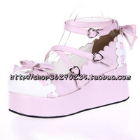 Lolita shoes spring and autumn single shoes bow princess shoes platform shoes 8076 pink