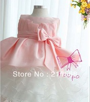 Retail girl birthday dress 2014 children dress girls big bow dress Princess dress chiffon Pink tutu multilayer dresse for summer