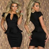 Sexy Dress Peplum Career business Black White mini bodycon elegant evening party club wear 2013 New Fashion Women Winter runway