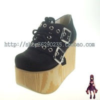 Women's lolita shoes cos punk shoes platform punk shoes wood grain single shoes black 6030 flannelet