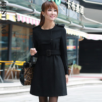 7960 elegant slim wool coat long design handsome epaulette brief sweep new arrival bestbao