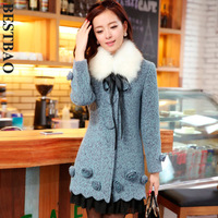 7950 sweet design long wool coat three-dimensional flower decoration sweep chiffon patchwork bestbao
