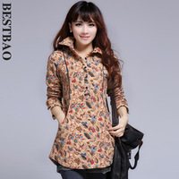 Fresh 7886 thickening cotton-padded print shirt front fly circarc sweep all-match bestbao