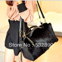 sale price Fashion More color  high-capacity single-shoulder autumn and winter fur handbag for women with sequined