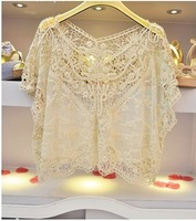 Free Shipping Hot sale Casual Women's Sweet Lace Flower Batwing Tops Blouses #JM222