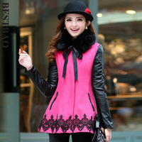 7899 slim medium-long color block decoration wool coat popper front fly sweep laciness bestbao patchwork