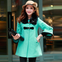 7892 medium-long three quarter sleeve wool coat button front fly detachable fur collar bestbao